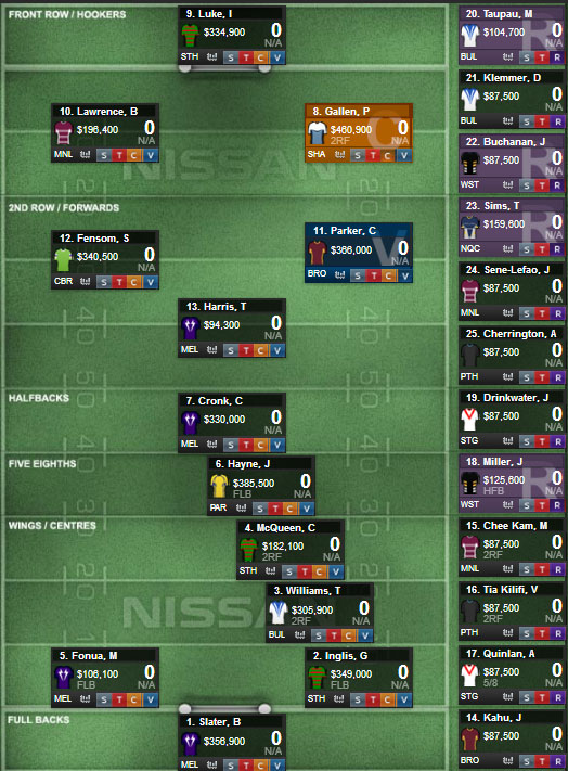 Mustangs Supercoach Line-up
